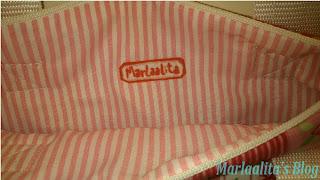 bolso rosa, costura, etiqueta marlaalita