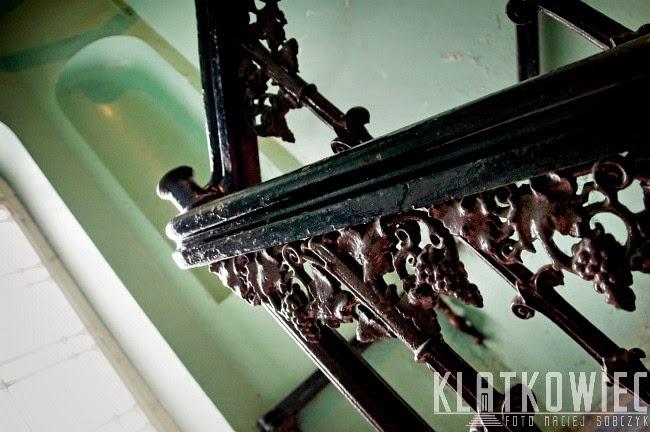 Zielona Góra. Balustrada w kamienicy z winoroślami.