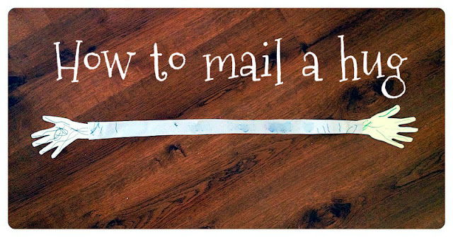 How to mail a hug hand print craft