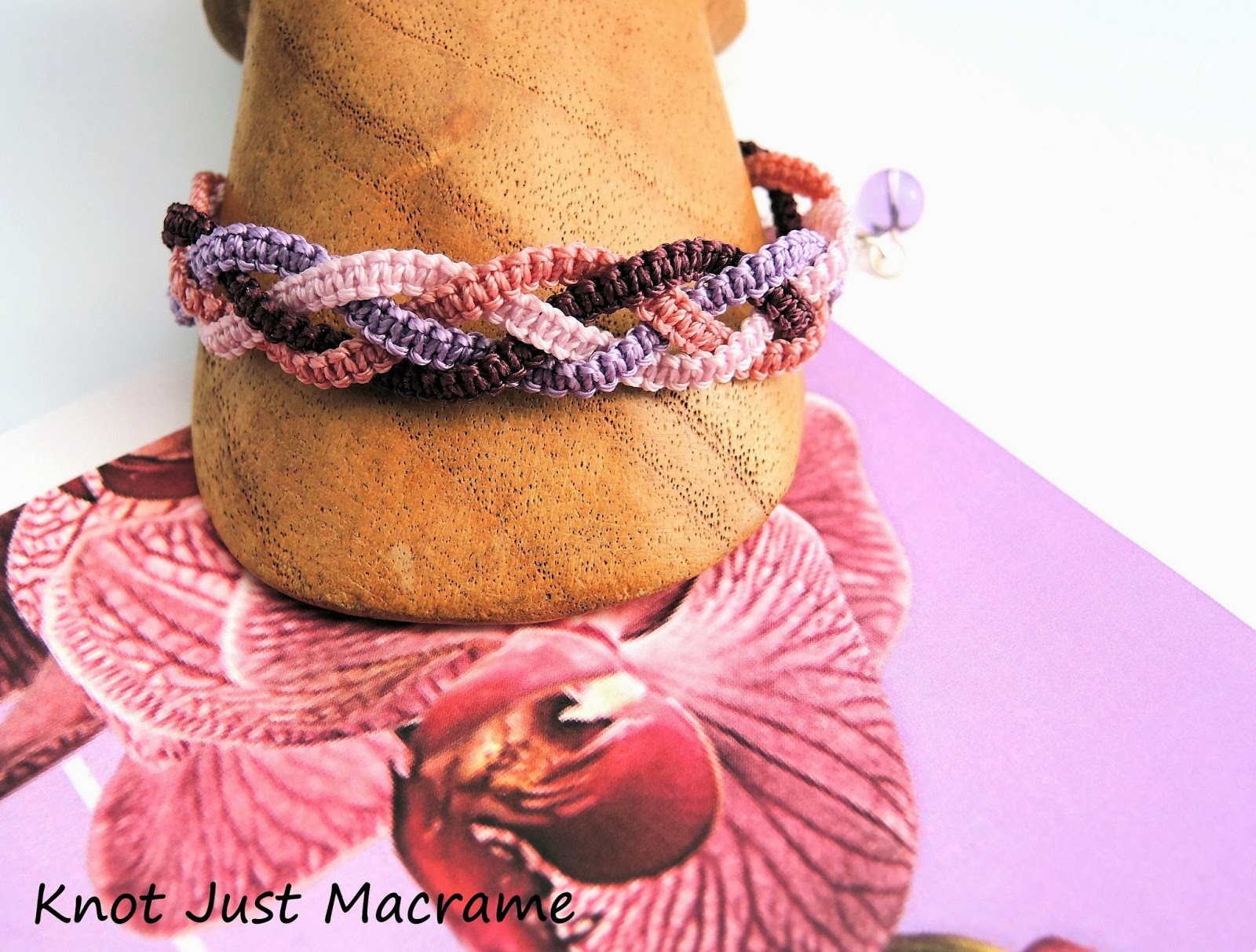 Four part braid in micro macrame in shades of orchid