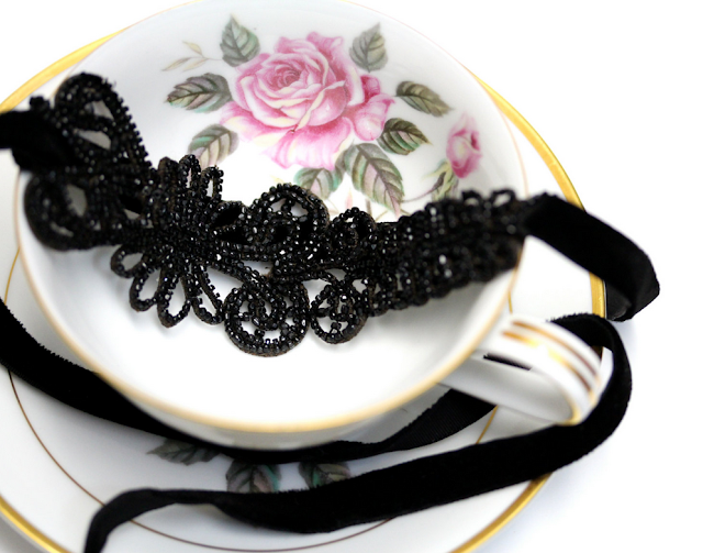 Victorian beadwork lace headband #victorian #hair #fashion #antique