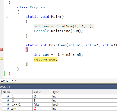 watch window example in visual studio