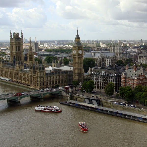 "This outlook from atop of the ""Eye"" features the iconic Big Ben."
