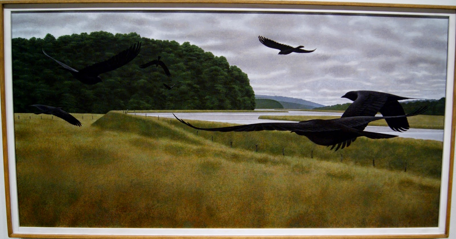 Alex Colville Exhibit at Art Gallery of Ontario in Toronto: Seven Crows, 1980, paintings, art, artmatters, culture,ontario, Canadian Artist, Painter, Canada