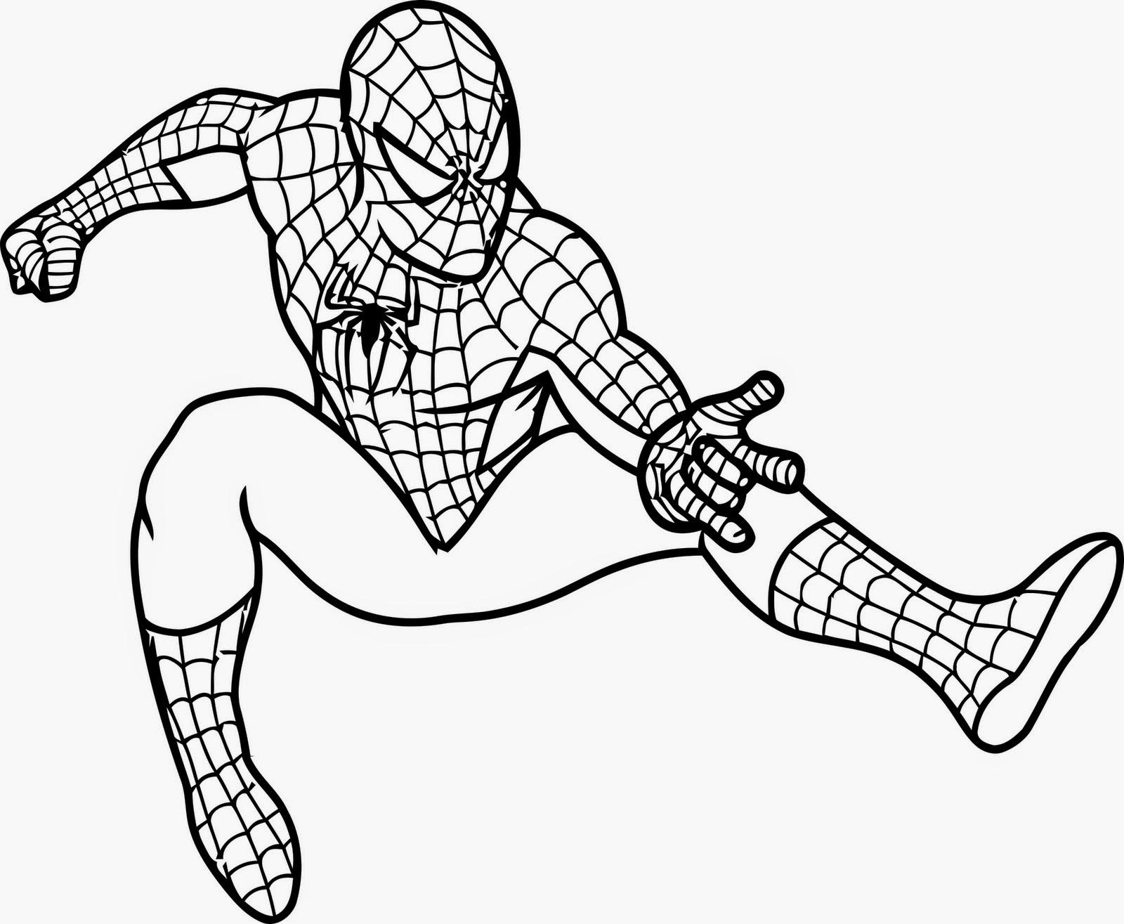 Spiderman tinggal di kota New York dengan nama asli Peter Parker berikut Mewarnai Gambar Superhero Spiderman