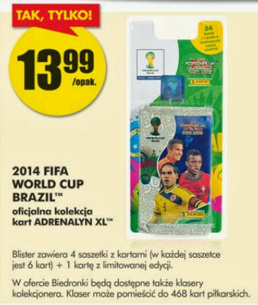 Kolekcja kart 2014 FIFA WORLD CUP BRAZIL™ ADRENALYN XL z Biedronki ulotka