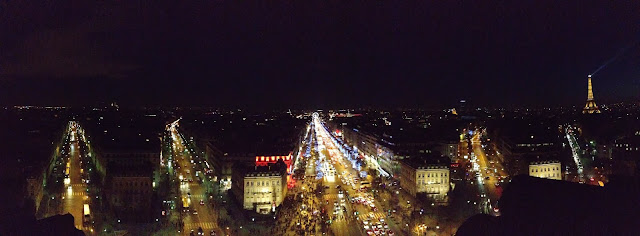 View from Arc de Triomphe at night