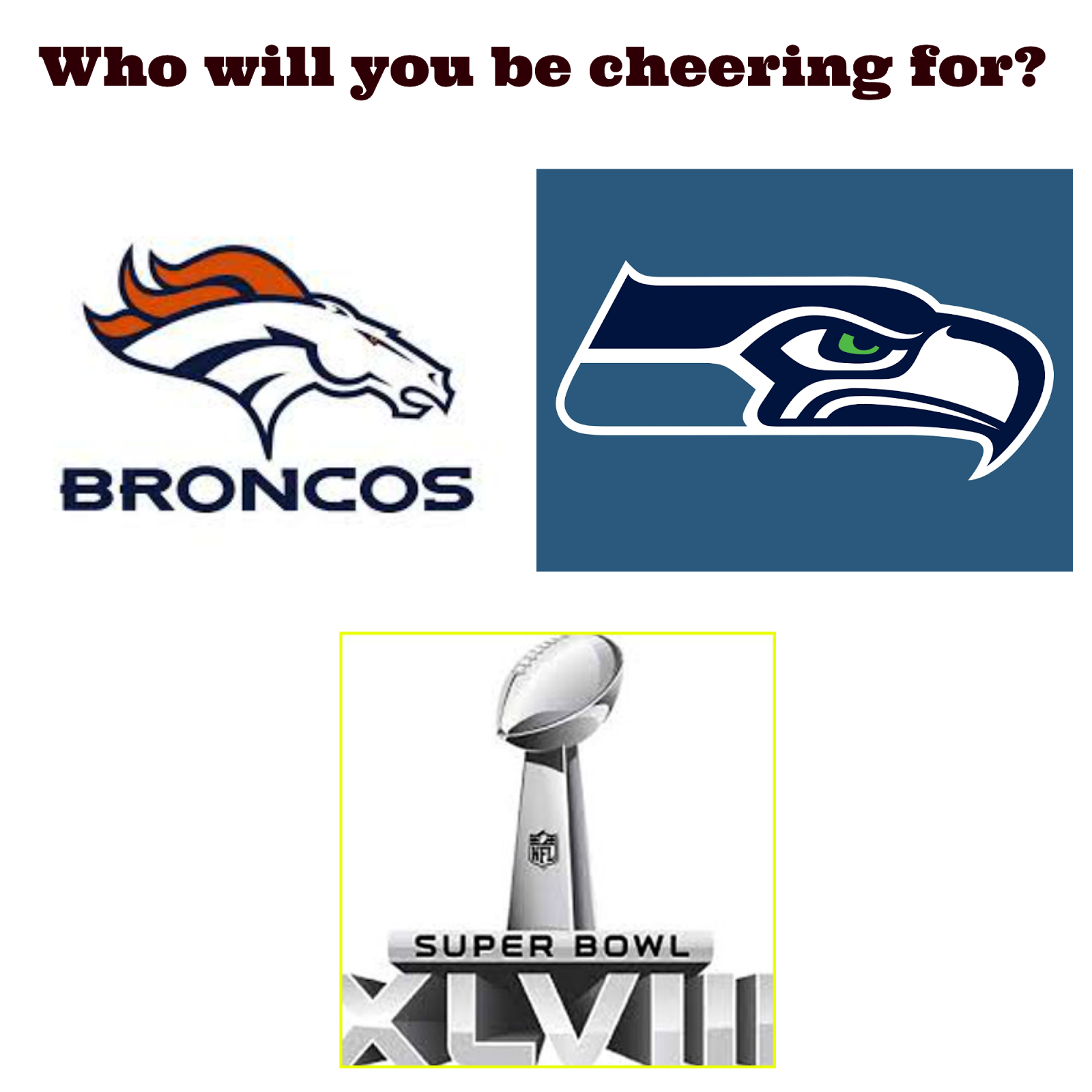 Superbowl 2014  Denver Broncos Seattle Seahawks  Football  logos