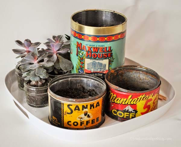 jessicandesigns Vintage Coffee Can Succulent Planter DIY