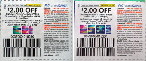 1. When Proctor and Gamble offers a $15 off $50 deal, you have to buy $50 worth of Olay products. Use coupons on each product, and you can stock up on your favorite Olay products for the next three to six months paying only a fraction of the retail price. 2. The highest price coupon for Always is $3 off one for their incontinence pads.