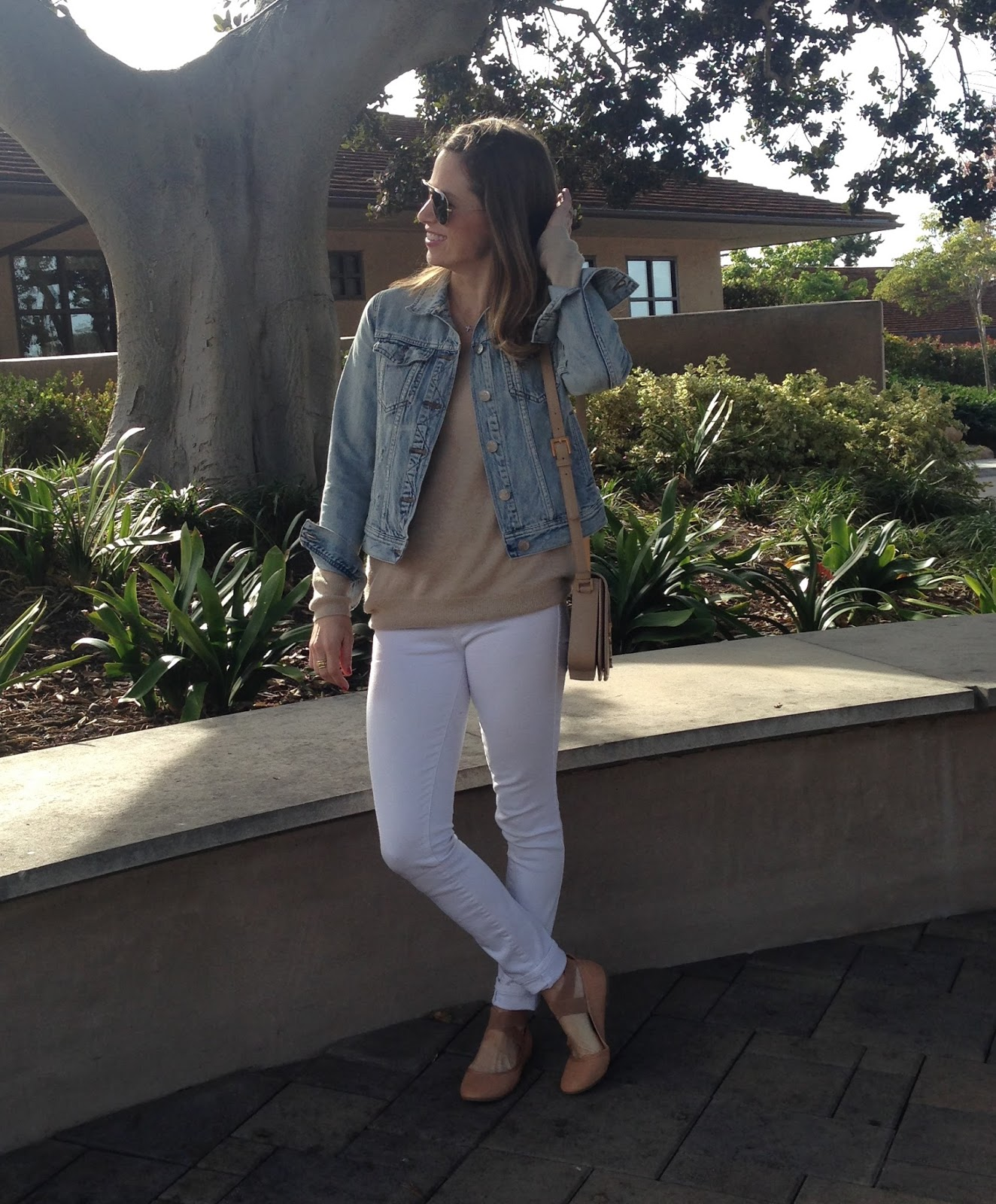 white jeans and nude sweater
