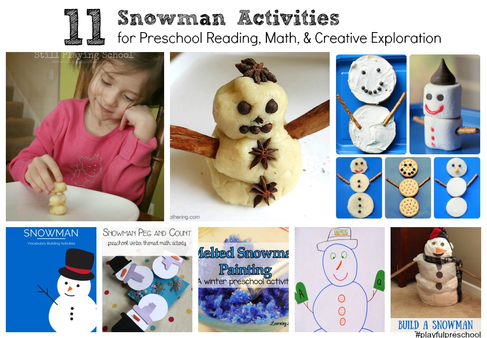 Snowman learning and creative ideas for preschoolers