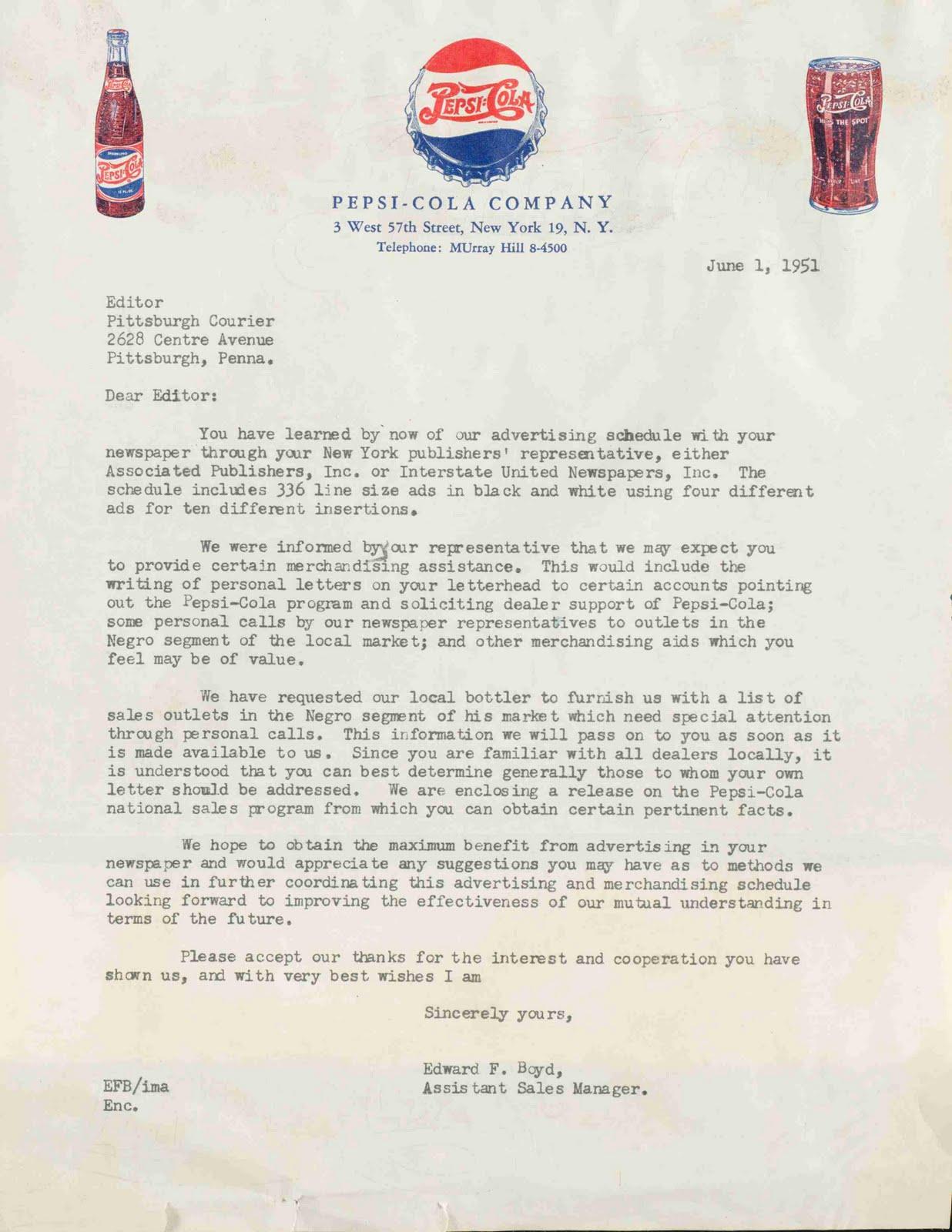 Dear Bottler letter, 1951