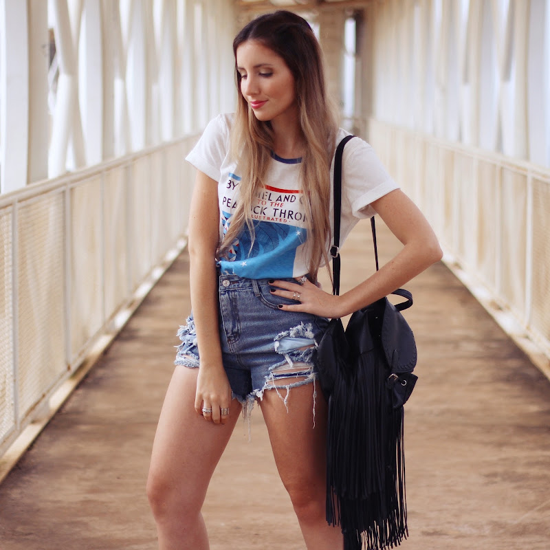 shorts jeans destroyed cintura alta