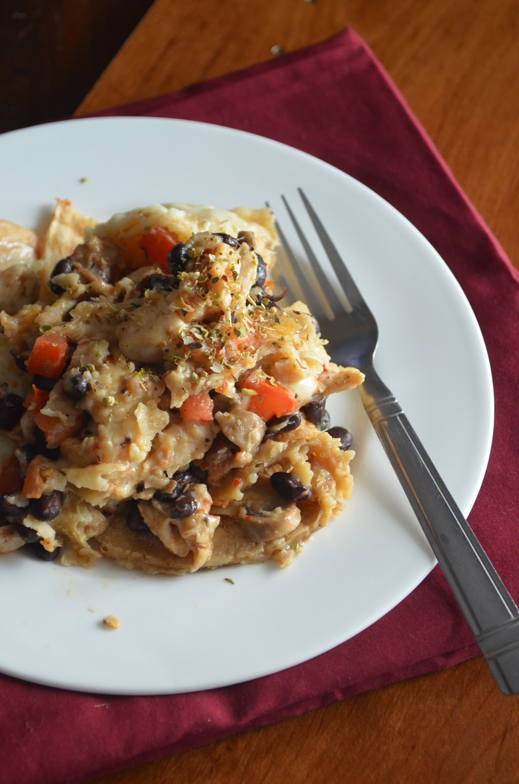 Dishing With Divya: Chicken Mushroom and Black Bean Tortilla Casserole