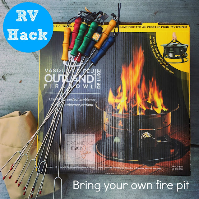 RV Hack -if your campground doesn't allow wood fires, bring your own ::OrganizingMadeFun.com