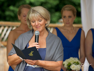 Debi, Megan's mother, presents a reading at her daughter's wedding