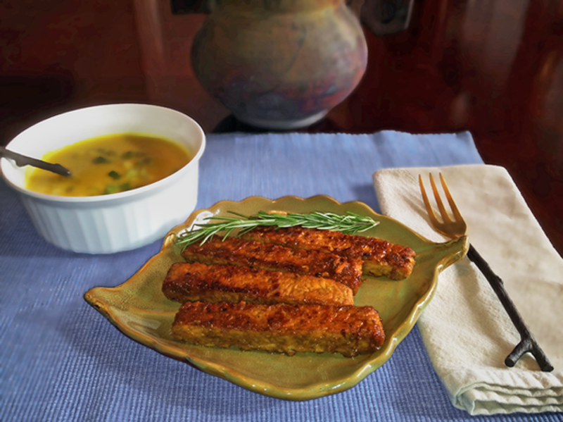 Image of Citrus and Maple Glazed Tempeh served with pumpkin soup