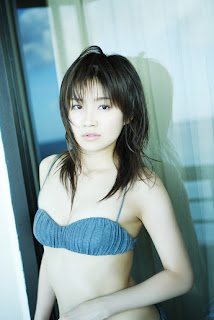 Ai Takabe Japanese Sexy Voice Actress Sexy Blue Swimsuit In Living Room 9