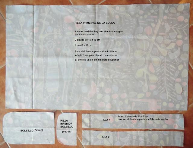 tresp craft blog tote bag bolsa de tela plegable patr n. Black Bedroom Furniture Sets. Home Design Ideas