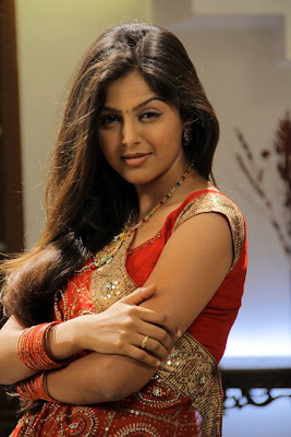 Beautiful hot Monal gajjar in red traditional saree
