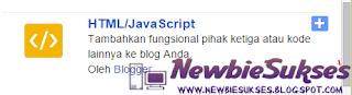 Kemudian Pilih HTML / JavaScript, untuk menambahkan atau memasukan HTML / JavaScript anda.