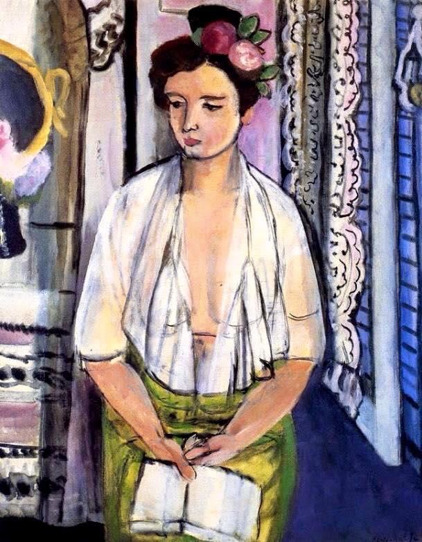 H Matisse. Leyendo con Flores en el Pelo