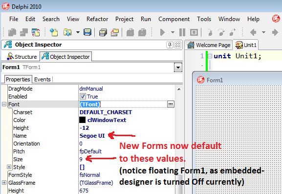 how to set default font