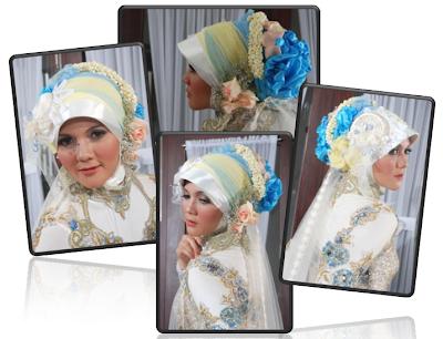 Jilbab Pengantin Modern Motif Bunga