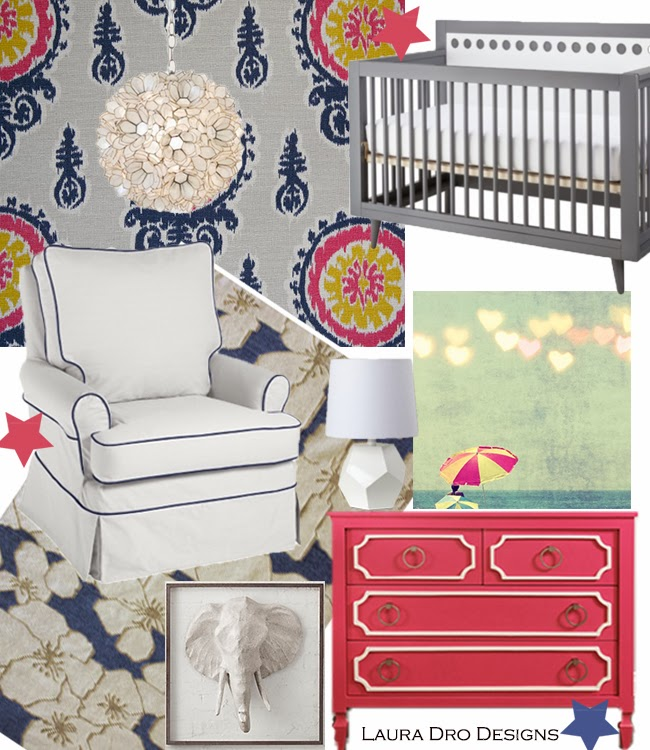 Laura Dro: Navy And Coral Nursery-Giveaway Details