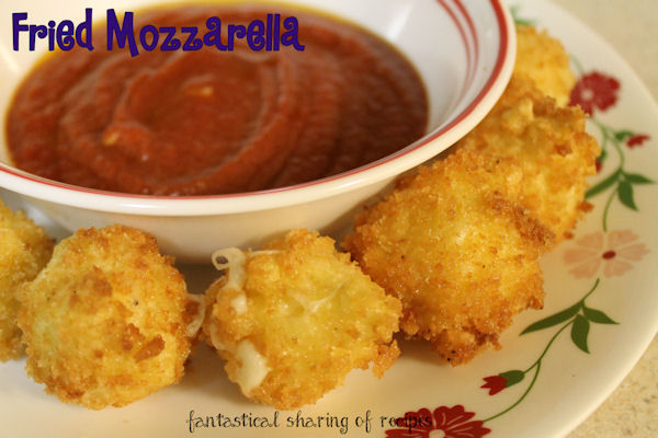 Fried Mozzarella - Panko-coated mozzarella fried to crunchy perfection #appetizer #recipe
