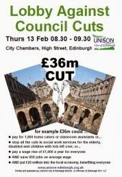 UNISON to lobby Edinburgh Council against cuts Thurs 13 Feb 08.30 City Chambers