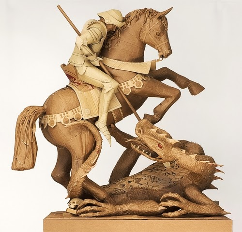 15-The-Knight-and-the-Dragon-Life-Size-Chris-Gilmour-Cardboard-Sculptures-www-designstack-co