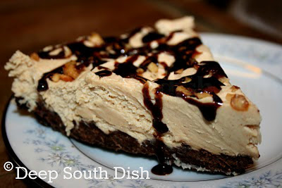 creamy pie made of peanut butter, cream cheese, cream and brown ...