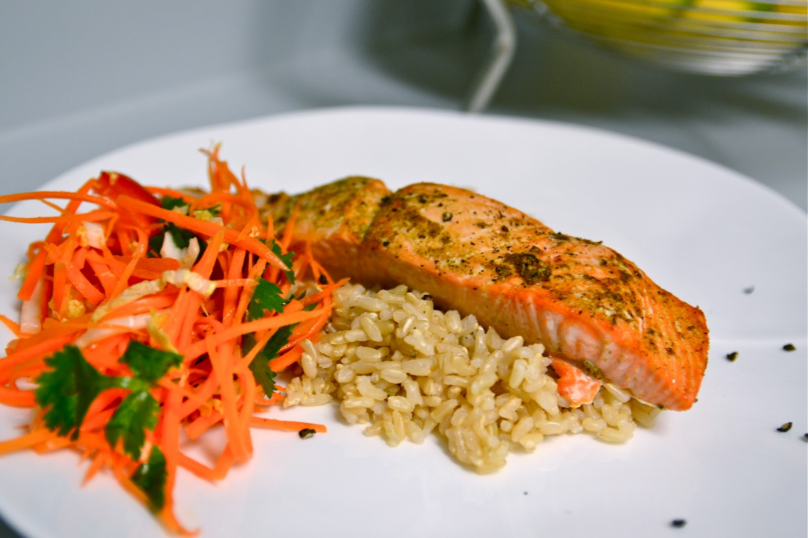 explorations of an amateur cook curry rubbed salmon with napa slaw and brown rice. Black Bedroom Furniture Sets. Home Design Ideas
