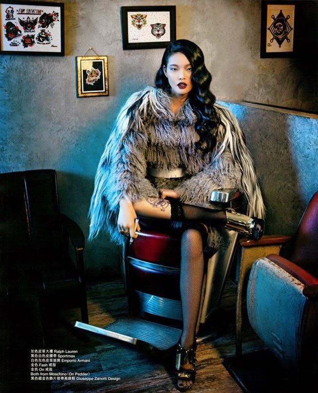 Emporio Armani 2014 AW Multi-color Fur Coat Editorials