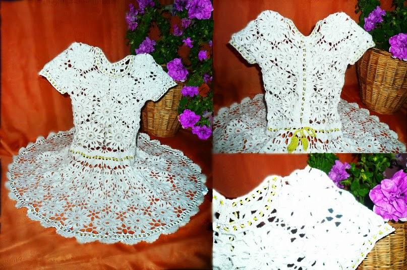 Вязание крючком цветков для платья 193