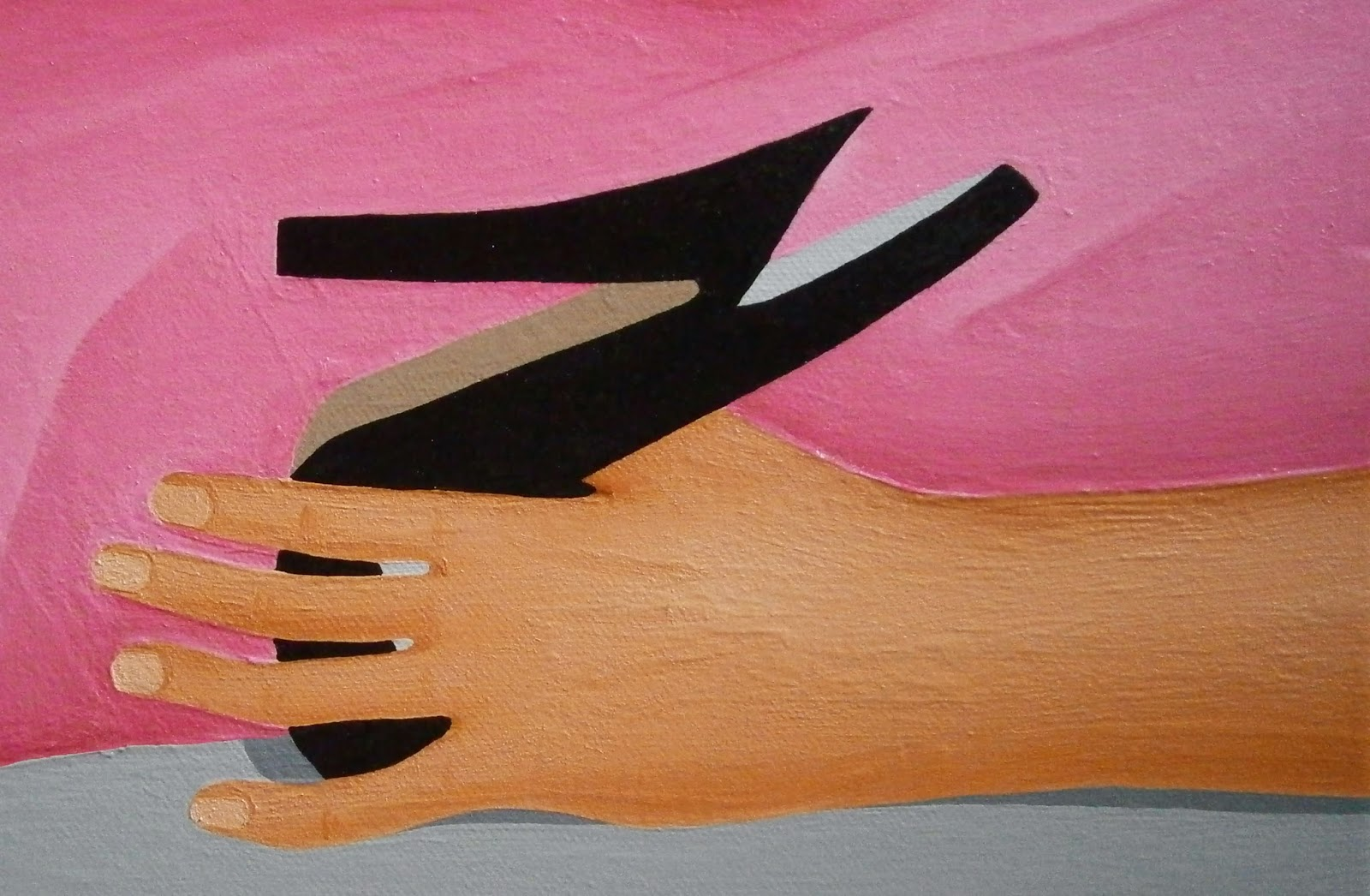 A close up of the painting by L. E. Gav Thorpe titled Be Gentle