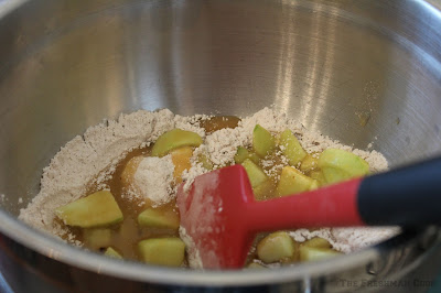 caramel, apples, flour, cinnamon, nutmeg