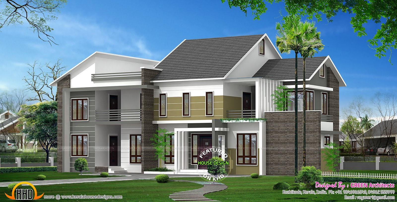 Modern 4 bedroom house in 2300 sq ft kerala home design for Modern square house