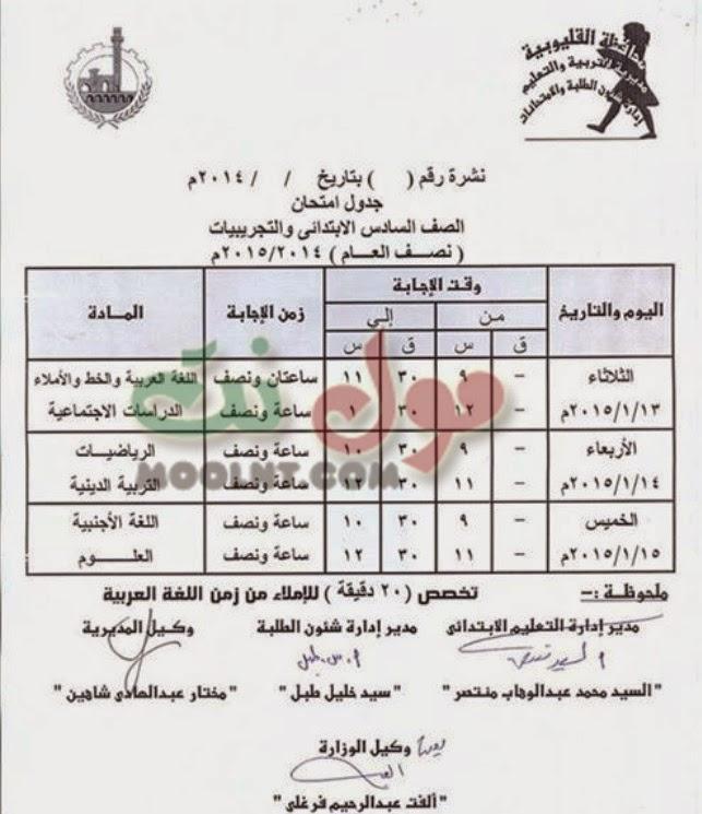 جدول امتحانات الشهادة الابتدائية عملي ونظري الفصل الاول القليوبية 2015