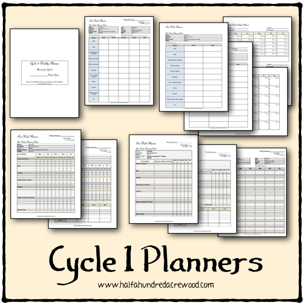 http://www.halfahundredacrewood.com/2015/02/classical-conversations-cycle-1-planners.html