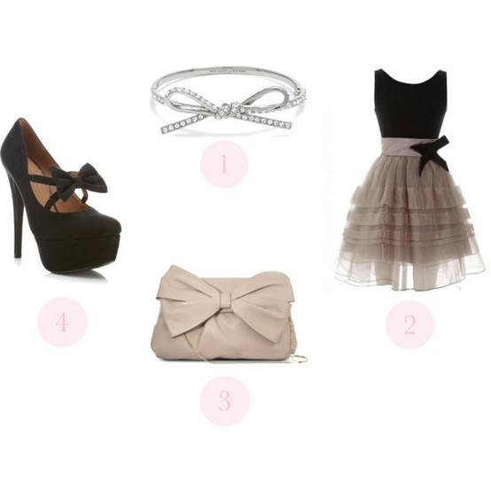 bow, bows, bracelet, jewelry, dress, pumps, shoes, handbag, clutch, fashion, style, wardrobe