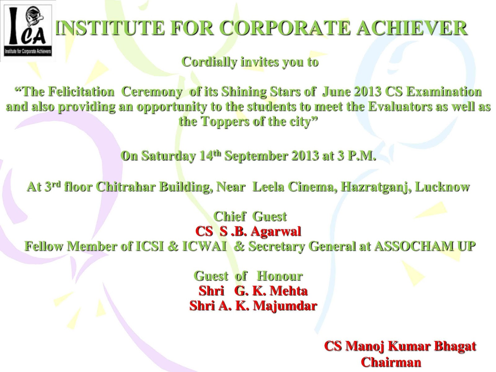 Institute For Corporate Achievers Ica Invitation On The