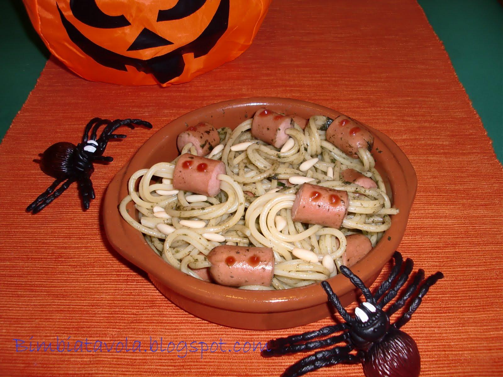 bimbi a tavola: Spaghetti ragno e idee per halloween