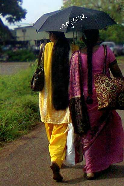 Tamilnadu Long Hair College Girl Walking To Her