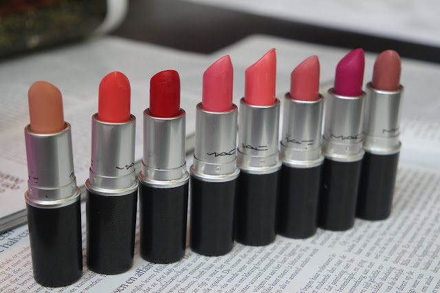 mac myth, mac vegas volt, mac ruby woo, mac chatterbox, mac sunny seoul, mac please me, mac flat out fabulous, mac faux