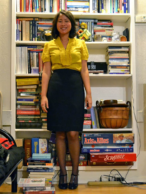 sacramento office fashion blogger angeline evans the new professional blog business casual loft yellow ruffle top swapped black pencil skirt steve madden t-strap mary janes curly hair
