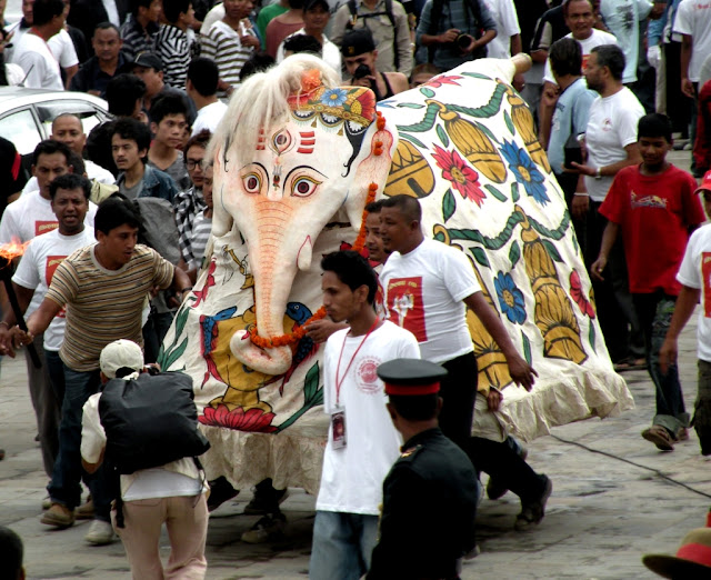 Elephant dance during Indra Jatra festival in Nepal