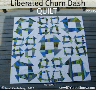 Liberated Churn Dash QUILT by Sarah Vanderburgh of www.sewjoycreations.com